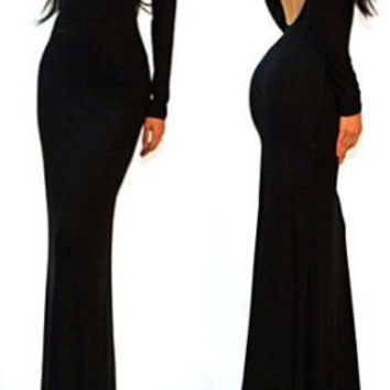 Sexy Long Black Minimalist Backless Open Dress for Club and Party = 1932438020