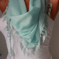 Blue Shawl Scarf - Headband Cowl with Lace Edge-Summer Trends