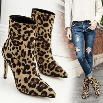 Leopard Print Ankle Winter Boots