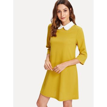 Pearl Beaded Contrast Collar Keyhole Back Dress Mustard
