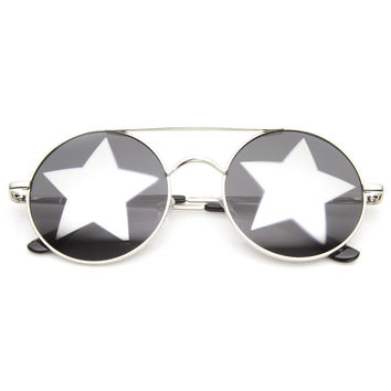 Super Star Novelty Party Round Metal Sunglasses 9143