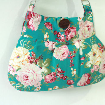 Diaper Bag turquoise green rose floral - Shoulder bag, cotton bag
