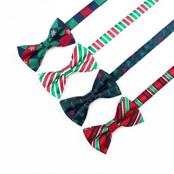 Christmas bowtie for men Striped snowflake pattern bow tie Women Fashion Butterfly Party Wedding Cravat Red Plaid Bow