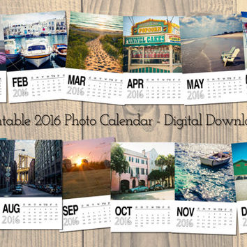 Printable Calendar 2016, Photo Calendar, Instant Digital Download, Travel Photography Calendar, ocean, desk calendar, fine art wall calendar