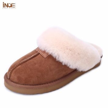 INOE sheepskin leather fur lined women home shoes winter suede slippers for men indoor