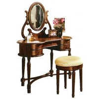 3 pc cherry brown finish wood bedroom make up vanity set