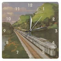 Vintage Vacation by Train, Locomotive in Country Square Wallclock from Zazzle.com