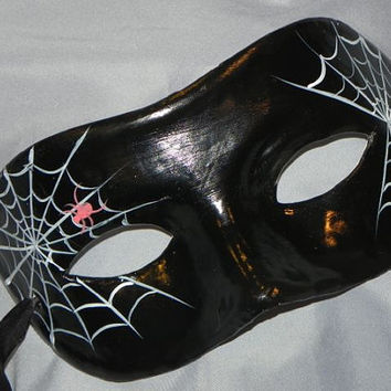 Spider Web Masquerade Mask with Black, Red and Silver Accents - Halloween Mask