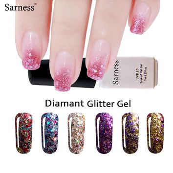 Sarness Diamond Glitter Nail Gel Polish Base Top Nails Gel Professional nail art 7ml Soak Off Led UV Gel Nail Polish