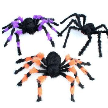 VLX2WL Halloween haunted house props _ night games decorative props Tricky whole person horror plush spider [9047590087]
