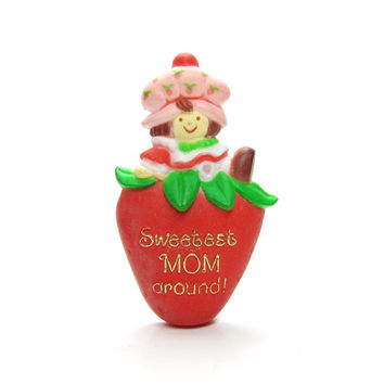 Sweetest Mom Around Strawberry Shortcake Pin Vintage American Greetings Brooch