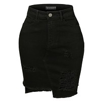 LE3NO Womens Vintage Destroyed Ripped High-Low Hem Black Denim Skirt