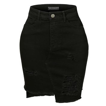 Vintage Destroyed Ripped High-Low Hem Black Denim Skirt