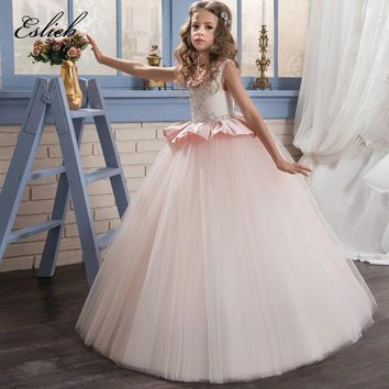Satin Flower Girl Dresses Beading Ruffles Little Girl  Pink Scoop Tulle Ball Gowns 0-14 Year Old 2017 First Communion Dresses