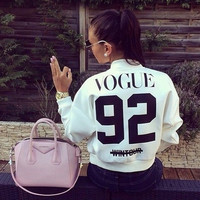 VOGUE 92 Print Baseball Sweater  12097