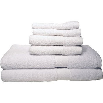 6-Piece Complete Ultra Spun Absorbent Towel Set With Hand Washcloths and Bath Towels