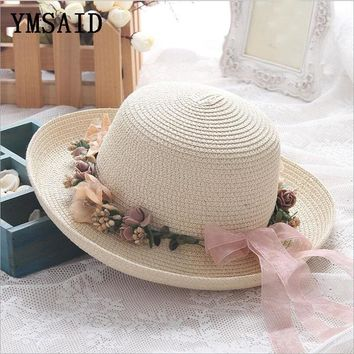 ymsaid Summer Handmade Flower Straw Hat Women's Garland Sunbonnet Bucket Hat roll-up Hem Elegant Beach Cap Sun Hat For Women