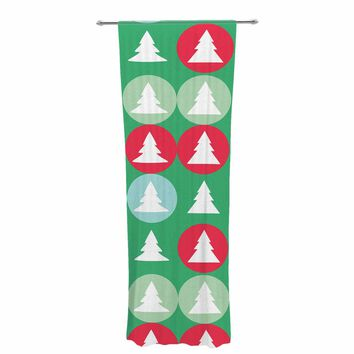 "bruxamagica ""Holiday Abstract Pattern"" Green Red Abstract Holiday Digital Vector Decorative Sheer Curtain"
