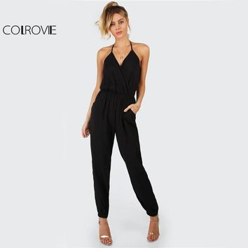 COLROVIE Elegant Black Halter Jumpsuit Surplice Casual Women Self Tie V Neck Jumpsuits Fashion Hot Sexy Backless Jumpsuit