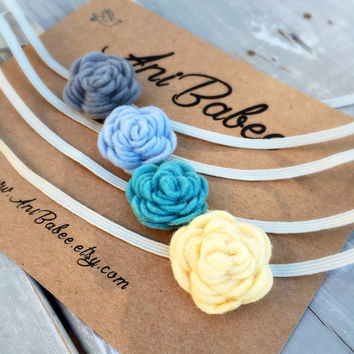 Teal Felt Flower Headband, Baby Headband Set, Yellow Felt Flower Headband, Baby Blue Felt Flowers, Felt Flower Headband Set