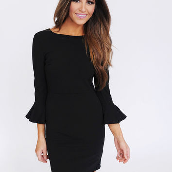 Black 3/4th Bell Sleeve Dress
