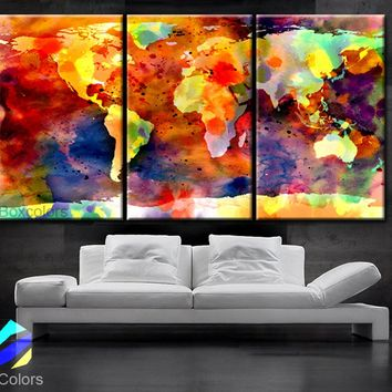"LARGE 30""x 60"" 3 Panels 30""x20"" Ea Art Canvas Print Original Watercolor World Map colors Wall Home office decor interior"
