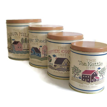 Vintage Kitchen Canister Set, Tin,  Ballonoff, Set of 4, The Inn Set, Nesting, Retro Kitchen, Home Decor, Cottage Chic