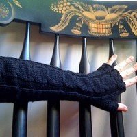 Black Long Fingerless Gloves