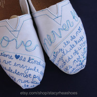 Love Never Fails TOMS 1 Corinthians 1347 by StacyRheaShoes on Etsy