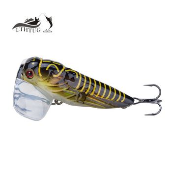 Hot 2017 New Fishing Lure High Quality Lscas Artificial Bait 40mm 3.8g Floating Popper Topwater Stomach Cicada Insect