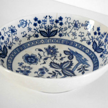 Christmasinjuly CIJ Blue Floral Bowl White Serving Dish Made by Heirloom