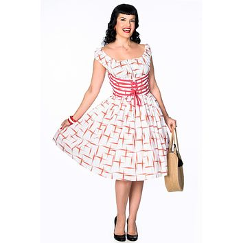 Amy Dress in Red Retro Print