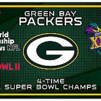 Green Bay Packers 4X Super Bowl Champions Aluminum License Plate Tag Football