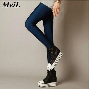 MeiL 2017 Sexy Solid Candy Neon Leggings Plus Size Women's Leggings High Stretched Elastic Leggings Fitness Ballet Dancing Paint