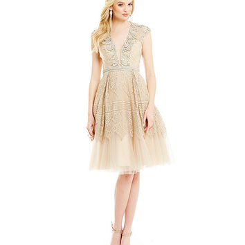 Mac Duggal Beaded Antique Lace Fit-and-Flare Dress | Dillards