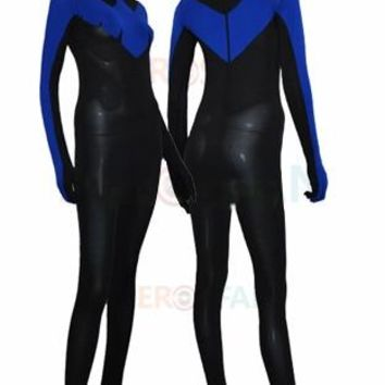 Nightwing Costume Black and Royal Blue spandex Lycra catsuit Halloween Cosplay party Suit Contains the eye free shipping