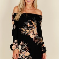 Off The Shoulder Print Dress Black