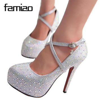 ONETOW women high heels prom wedding shoes lady crystal platforms silver Glitter rhinestone b