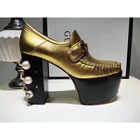 GUCCI counter models women's stylish black leather high-heeled shoes F-OMDP-GD gold
