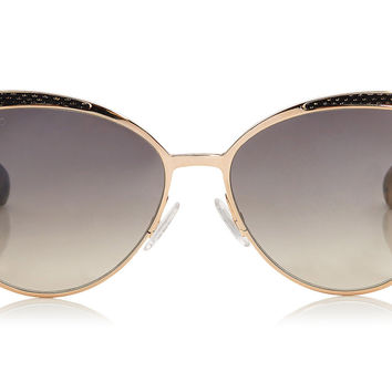 Jimmy Choo - Domi Metal Framed Cat Eye with Snakeskin Leather Detail Sunglasses