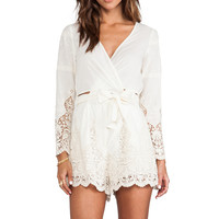 Zimmermann Keeper Broidery Wrap Playsuit in Cream from REVOLVEclothing.com