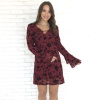 Black Velvet Floral Motif Shift Dress