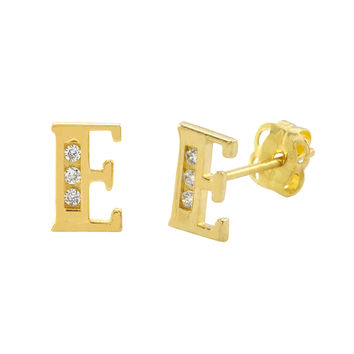 10k Yellow Gold Letter E Initial Stud Earrings Cubic Zirconia 7mm