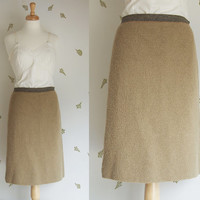1950's Italian Pure Wool Skirt / Knitwear / Beige / Medium / Vintage 50s