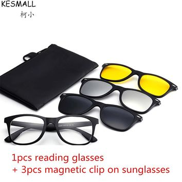 1pcs Reading Glasses + 3pair Magnetic Sunglasses Women Men Fashion Myopia Hyperopia Night Vision Reading Sun Glasses YJ782