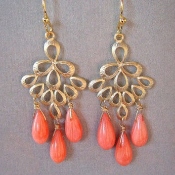 Coral and Gold Peacock Chandelier Earrings, mother's day jewelry, Bridesmaid Gift