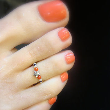 Toe Ring, Red Stones, Blue Beads, Cream Beads, Metal, Star, Bead Toe Ring