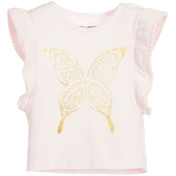 Zadig & Voltaire Baby Girls Pink & Gold Butterfly Top