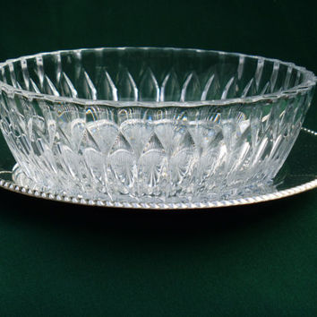 Cut Glass Serving Dish Silver Plated Serving Plate 1968 Mid Century