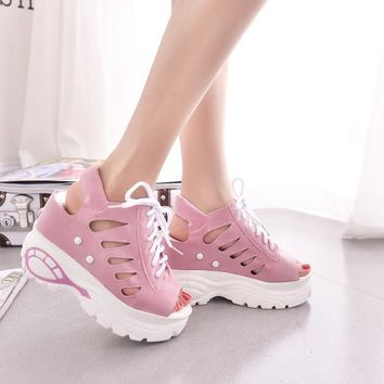 10cm Heel hight 2016 Mesh Breath Sandals Women Casual Shoes Woman Platform Wedges Loafers sandalias Mujer Zapatillas Deportivas